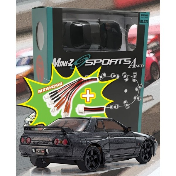 Mini-Z MA020 SPORTS 4WD SKYLINE GTR R32 (KT19) GUN METAL w/LED SET